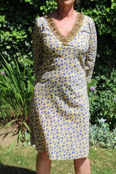 MAIDIE DRESS BLUE/GOLD WAS £85 NOW £45